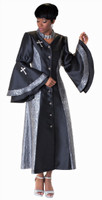 02. Ladies 1-Piece Preaching Robe Dress In Black & SIlver