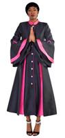 02. Ladies 1-Piece Preaching Robe Dress In Black & Fuschia