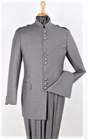 Sample Sale: (1) Size: 48L - 9-Button Banded Collar Clerical Suit In Gray