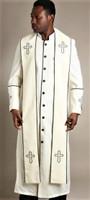 004.  Men's Trinity Clergy Robe & Stole Set In Cream & Black