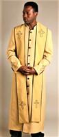 004.  Men's Trinity Clergy Robe & Stole Set In Gold & Black
