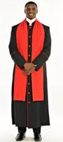 004. Men's Adam Clergy Robe & Tippet in Black & Red