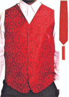 Clergy Cross Vest Set In Red & Black