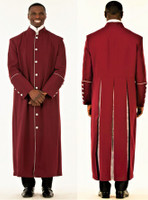 Closeout: Men's Adam Clergy Robe in Burgundy & Silver