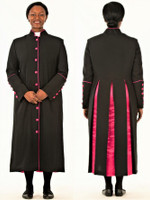 CLOSOUT 001. Rachel Clergy Robe For Ladies In Black & Fuschia