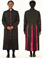 CLOSOUT 001. Rachel Clergy Robe For Ladies In Black & Fuschia