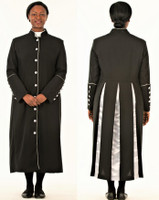 CLOSEOUT 001. Rachel Clergy Robe For Ladies In Black & Silver