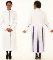 001. Rachel Clergy Robe For Ladies In White & Purple
