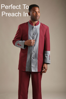 01. The Cain Clergy Suit In Burgundy & Silver