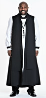 0001. Pastor Vestment In Black - 8 Pieces Included
