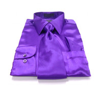 Solid Satin Dress Shirt & Tie Set In Purple