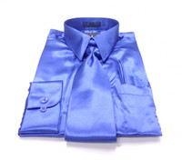 Solid Satin Dress Shirt & Tie Set In Royal Blue