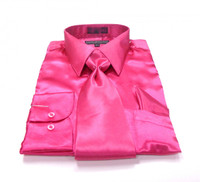 Solid Satin Dress Shirt & Tie Set In Fushcia