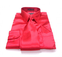 Solid Satin Dress Shirt & Tie Set In Red