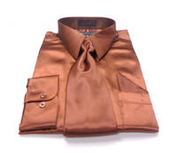 Solid Satin Dress Shirt & Tie Set In Copper