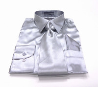 Solid Satin Dress Shirt & Tie Set In Silver