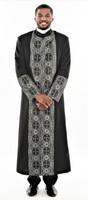 006. Men's Joseph Clergy Robe In Black & Silver
