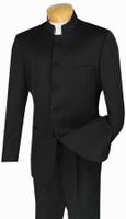 5-Button Banded Collar Clerical Suit In Black