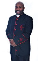 003. Trinity Clergy Jacket For Men In Black & Red