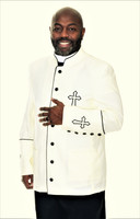 003. Trinity Clergy Jacket For Men In Cream & Black