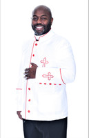 003. Trinity Clergy Jacket For Men In White & Red