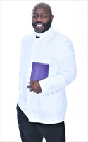003. Trinity Clergy Jacket For Men In White on White