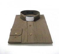 Tab Collar Affordable Clergy Shirt in Taupe