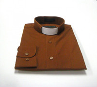 Tab Collar Affordable Clergy Shirt in Brown