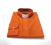 Tab Collar Affordable Clergy Shirt in Burnt Orange