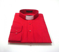 Tab Collar Affordable Clergy Shirt in Red