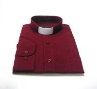 Tab Collar Affordable Clergy Shirt in Burgundy