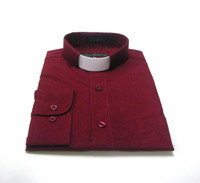 Tab Collar Affordable Clergy Shirt in Burgundy