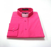 CLEARANCE 101: SHORT SLEEVE Tab Collar Clergy Shirt - FUSCHIA