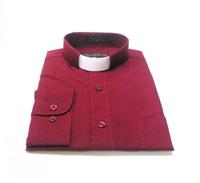 CLEARANCE 101: SHORT SLEEVE Tab Collar Clergy Shirt - BURGUNDY