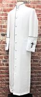001. Clearance: Men's Preacher Clergy Robe in White & Black
