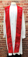 001. Trinity Clergy Stole in Red & White