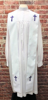 001. Preacher Clergy Stole in White & Purple
