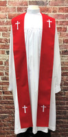 001. Preacher Clergy Stole in Red & White