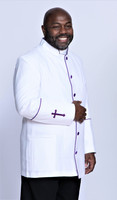 001. Men's Preacher Clergy Jacket in White & Purple