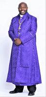0001. Men's Joshua Bishop Vestment in Purple & Gold - 5 Pieces Included