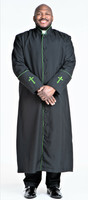 001. Men's Preacher Clergy Robe in Black & Green