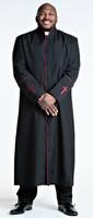 001. Men's Preacher Clergy Robe in Black & Red