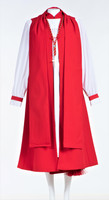 0001 Ladies Apostle Vestment In Red -  8 Pieces Included