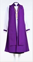 0001 Ladies Bishop Vestment In Purple -  8 Pieces Included