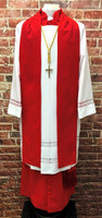 0002 Ladies Non-Denominational Vestment in Red - 6 Pieces Included