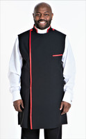 Modern Clergy Apron In Black & Red