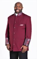 001. Men's Joseph Clergy Jacket in Burgundy & Silver