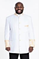 001. Men's Joseph Clergy Jacket in White & Gold