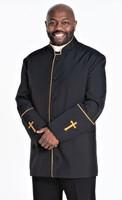 Men's Preacher Clergy Jacket in Black & Gold