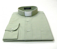 Tab Collar Affordable Clergy Shirt in Olive
